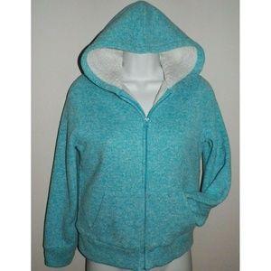Girls L Blue Sherpa Hoodie Jacket Sherpa